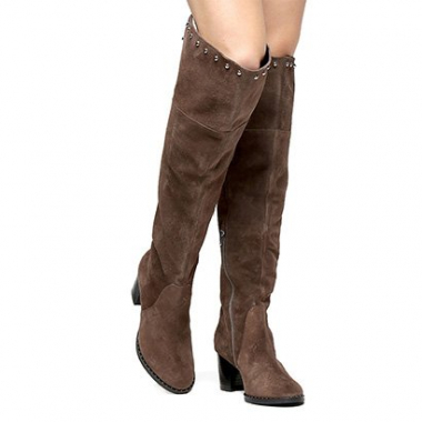 Bota Couro Shoestock Over The Knee Vira Cravos Feminina-Feminino