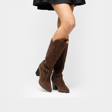 Bota Vizzano Over The Knee Tiras E Tachas-Feminino