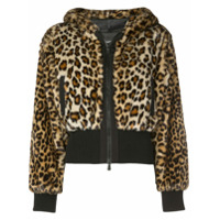 Boutique Moschino Cropped Leopard Print Jacket - Marrom