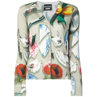 Boutique Moschino Pottery Print V-Neck Cardigan - Neutro