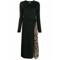 Boutique Moschino Vestido Longo Com Recorte Animal Print - Preto