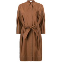 Brunello Cucinelli Bow Detail Shirt Dress - Marrom