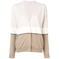 Brunello Cucinelli Cardigan Slim Color Block - Neutro