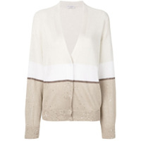 Brunello Cucinelli Cardigan Color Block - Neutro