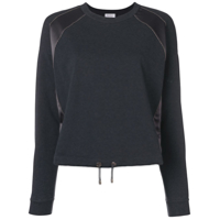 Brunello Cucinelli Jersey Sweater With Satin Panel - Cinza