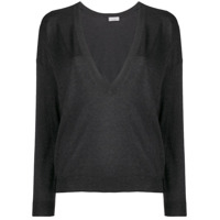 Brunello Cucinelli Lamé V-Neck Sweater - Preto