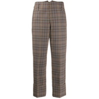 Brunello Cucinelli Plaid Cropped Trousers - Marrom