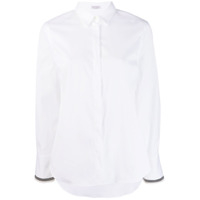 Brunello Cucinelli Ribbon Trim Pointed Collar Shirt - Branco