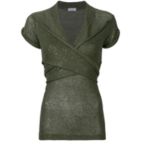 Brunello Cucinelli Sequinned Knitted Top - Verde