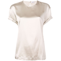 Brunello Cucinelli Short-Sleeve Silk Blouse - Neutro