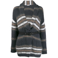 Brunello Cucinelli Striped Belted Cardigan - Cinza