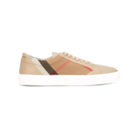 Burberry Check Detail Leather Sneakers - Neutro