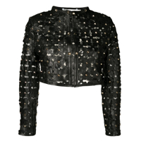 Caban Romantic Floral Cut-Out Jacket - Preto