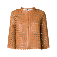 Caban Romantic Scalloped Pattern Cropped Jacket - Marrom