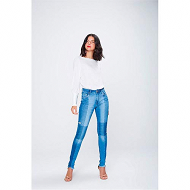 Calça Cigarrete Patches Jeans Tam: 40 / Cor: Blue