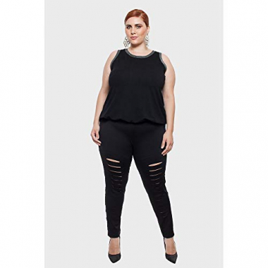Calça Legging Filetada Plus Size Preto-58/60