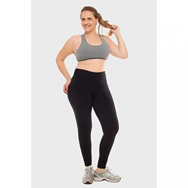 Calça Legging Plus Size Lisa Fitness Preto-0050