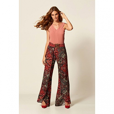 Calça Pantalona Estampa Red Scarf Estampado - 38