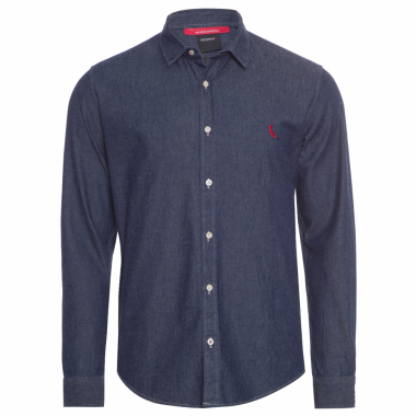 Camisa Masculina Easy Oxford - Azul