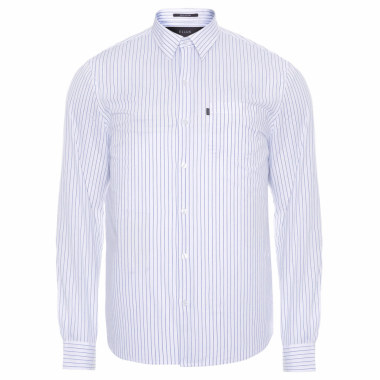 Camisa Masculina Light Stripes Pocket Classic - Branco