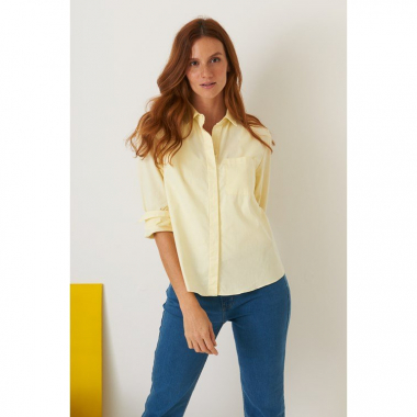 Camisa Vista Inteira Bolso Chambray
