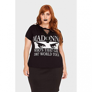 Camiseta Chocker Madonna Plus Size Preto-50
