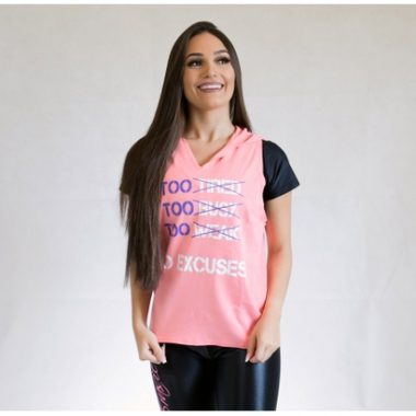 Camiseta Fit Training Brasil No Excuses C/ Capuz Feminina-Feminino