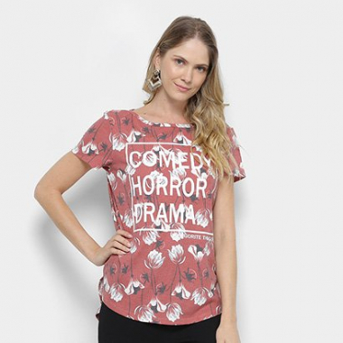 Camiseta My Favorite Thing (S) Alongada Estampada Feminina-Feminino