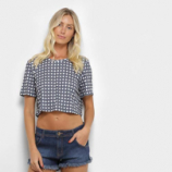 Camiseta My Favorite Thing (s) Cropped Estampada Feminina - Preto - M