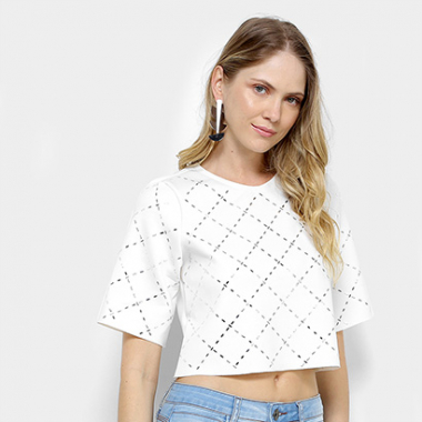 Camiseta My Favorite Thing (S) Cropped Hotfiz Xadrez Feminina-Feminino