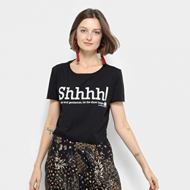 Camiseta My Favorite Thing(S) Shhhh! Feminina - Preto - G