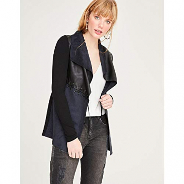 Cardigan Tricot Leather Touch-Preto-P