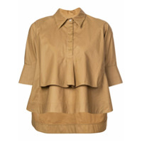 Carven Camisa Cropped - Marrom