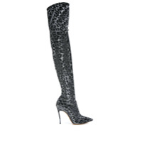 Casadei Bota Over The Knee Animal Print - Prateado