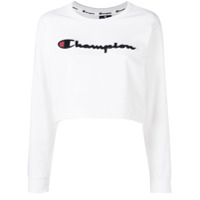 Champion Moletom Cropped Com Logo - Branco