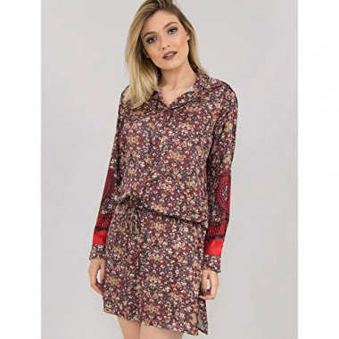 Chemise De Cetim Liberty Dragon Estampado - 42
