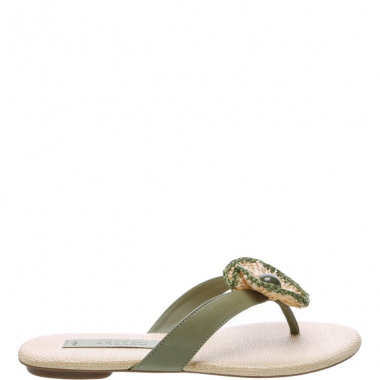 Chinelo Couro Flor Soft Army   Arezzo