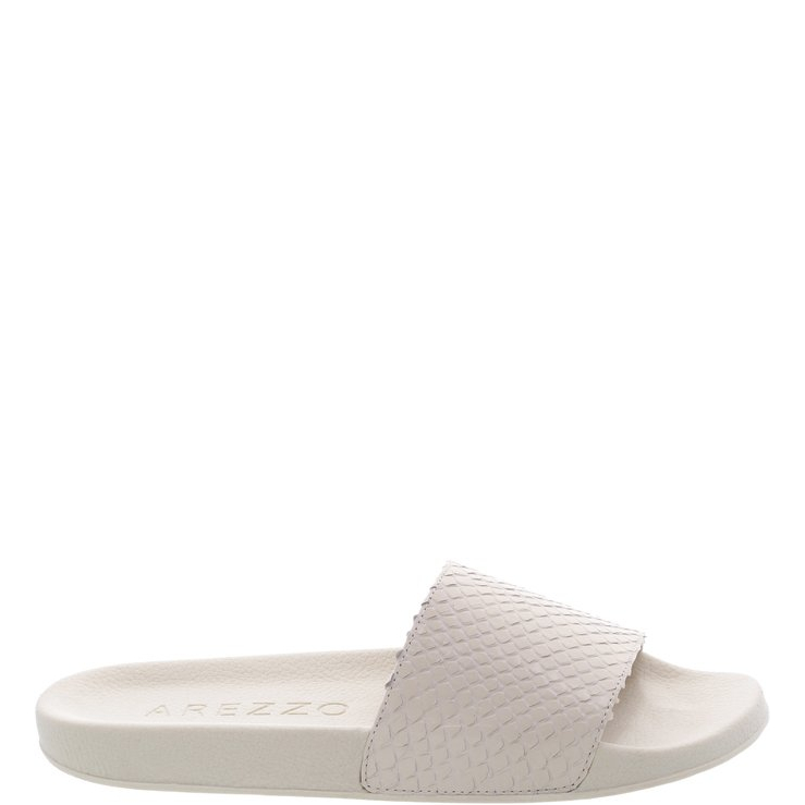 aacac7a3f Chinelo Slide Couro Snake Off White | Arezzo | iLovee