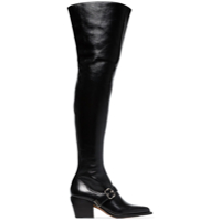 Chloé Bota Over-The-Knee De Couro - Preto