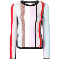 Cinq A Sept Frill Stripe Panel Sweater - Estampado