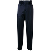 Closed High-Waisted Paperbag Trousers - Azul