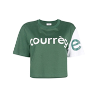 Courrèges Camiseta Color Block Cropped - Verde