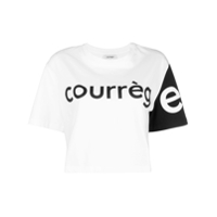 Courrèges Camiseta Cropped Color Block - Branco