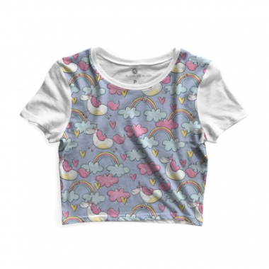 Cropped Morena Deluxe Unicorn In The Clouds Full Print-Feminino