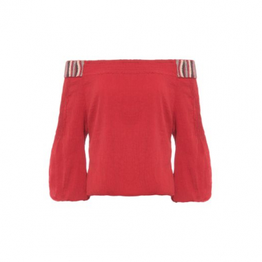 Cropped Ombro A Ombro African Canal - Vermelho