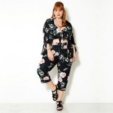 Cropped  Vintage And Cats Plus Size Floral-Feminino