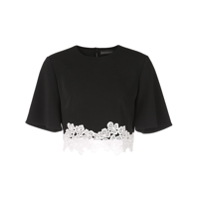 David Koma Lace Embellished T-Shirt - Preto