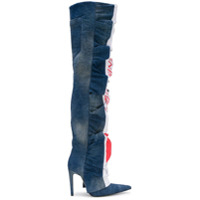 Diesel Red Tag ruched denim over the knee boots - Azul