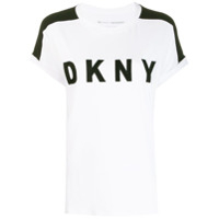 Dkny Roll Sleeve Logo T-Shirt - Branco