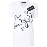 Dolce & Gabbana Camiseta Com Estampa 'life Is Beautiful' - Branco